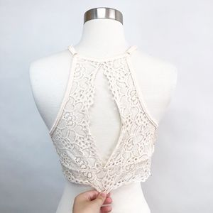 Intimates & Sleepwear - 🌈 blush high neck keyhole lace bra bralette L